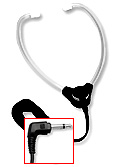 Hinged stetho headset with white plastic ear tips